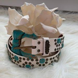 Betsey Johnson Leather Turquoise Bow Belt Size S